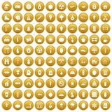 100 ícones saudáveis do estilo de vida ajustaram o ouro ilustração royalty free