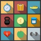 Ícones saudáveis do estilo de vida da aptidão ajustados Foto de Stock Royalty Free