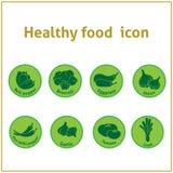 Ícones saudáveis do vetor do verde do alimento dos vegetarianos Foto de Stock Royalty Free