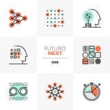 Ícones seguintes da aprendizagem de máquina Futuro ilustração stock