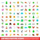 100 ícones selvagens ajustados, estilo da natureza dos desenhos animados ilustração royalty free