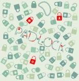Ícones ajustados da Web do vetor. pudlock e corrente sem emenda ilustração royalty free