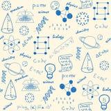 Ícones sem emenda desenhados mão da ciência ilustração royalty free