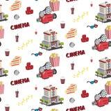Ícones sem emenda do cinema ilustração royalty free