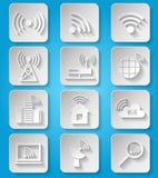 Ícones sem fio da rede de comunicação ajustados Foto de Stock