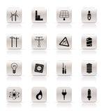 Ícones simples da eletricidade, da potência e da energia Fotos de Stock Royalty Free