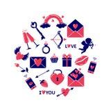 Ícones simples do dia de Valentim colorido colocados em uma forma do círculo ilustração do vetor