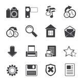 Ícones simples do Internet e do Web site da silhueta Imagens de Stock Royalty Free