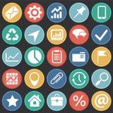 Ícones simples do negócio ajustados no fundo preto dos círculos de cor para o gráfico e o design web, sinal simples moderno do ve ilustração royalty free