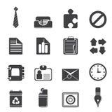 Ícones simples do negócio e do escritório da silhueta Imagens de Stock