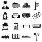 Ícones simples pretos da estrada de ferro ajustados ilustração do vetor