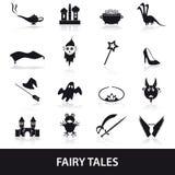 Ícones simples pretos do tema dos contos de fadas ajustados Imagens de Stock