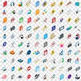 100 ícones sociais ajustados, estilo 3d isométrico Imagem de Stock Royalty Free