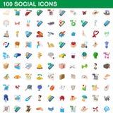 100 ícones sociais ajustados, estilo dos desenhos animados ilustração royalty free