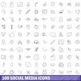 100 ícones sociais ajustados, estilo dos meios do esboço Imagem de Stock Royalty Free