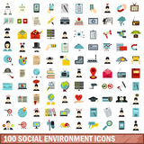 100 ícones sociais ajustados, estilo liso do ambiente Fotografia de Stock Royalty Free
