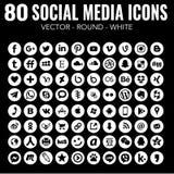 80 ícones sociais brancos redondos dos meios do vetor para o projeto gráfico e o design web ilustração royalty free