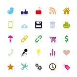 Ícones sociais coloridos ilustração stock