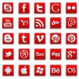 Ícones sociais costurados vermelho dos meios ilustração royalty free