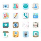 Ícones sociais da aplicação dos meios e do bate-papo Foto de Stock