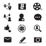 Ícones sociais da rede da silhueta ajustados Imagens de Stock Royalty Free