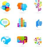 Ícones sociais da rede e elementos gráficos