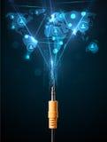 Ícones sociais da rede que saem do cabo elétrico Imagem de Stock