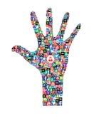 Ícones sociais da Web dos meios Imagens de Stock