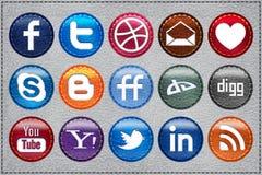 Ícones sociais de couro dos media Imagens de Stock