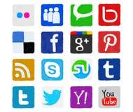 Ícones sociais desenhados à mão e pintados dos meios Imagens de Stock