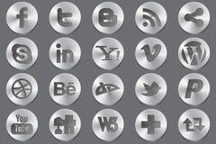 Ícones sociais do oval dos media Imagem de Stock