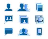 Ícones sociais do usuário da rede Foto de Stock Royalty Free