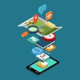 Ícones sociais dos apps dos meios do telefone isométrico liso do conceito do estilo 3d ilustração royalty free
