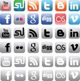 Ícones sociais dos media Imagens de Stock Royalty Free