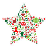 Ícones sociais dos media na estrela do Natal Fotos de Stock Royalty Free