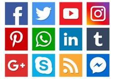 Ícones sociais dos meios ilustração royalty free