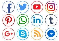 Ícones sociais dos meios ilustração do vetor