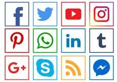 Ícones sociais dos meios ilustração stock