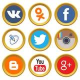 Ícones sociais dos meios Imagem de Stock Royalty Free