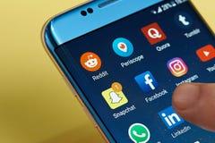 Ícones sociais dos meios Fotos de Stock