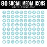 Ícones sociais dos meios da hortelã - para o design web e o projeto gráfico ilustração stock