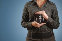 Ícones sociais dos meios da mulher de negócios nas mãos Imagem de Stock Royalty Free