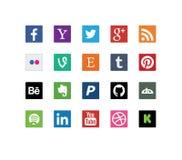 Ícones sociais dos meios e da Web Fotografia de Stock Royalty Free