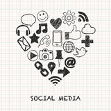 Ícones sociais dos meios na forma do coração ilustração do vetor