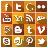 Ícones sociais lisos dos meios do vintage