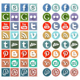 Ícones sociais lisos retros dos meios Imagens de Stock Royalty Free