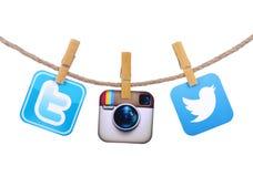 Ícones sociais populares dos meios Fotografia de Stock Royalty Free