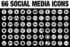 66 ícones sociais redondos dos meios brancos