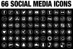 66 ícones sociais redondos dos meios brancos com beira da lata ilustração stock