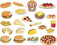 Ícones sortidos do fast food ilustração do vetor